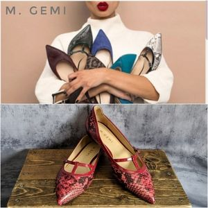 M. Gemi Artista pointed toe leather snake flats